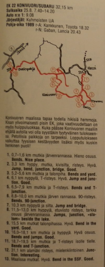 Spectator guide from 1000 Lakes Rally 1990 SS22 Konivuori